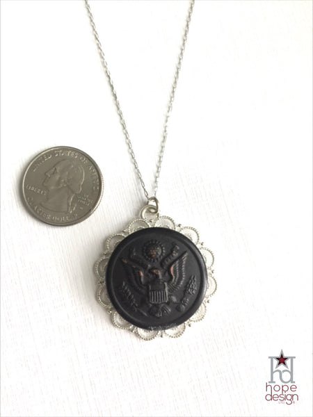 Vintage WWI Army Button on Silver Necklace AS20