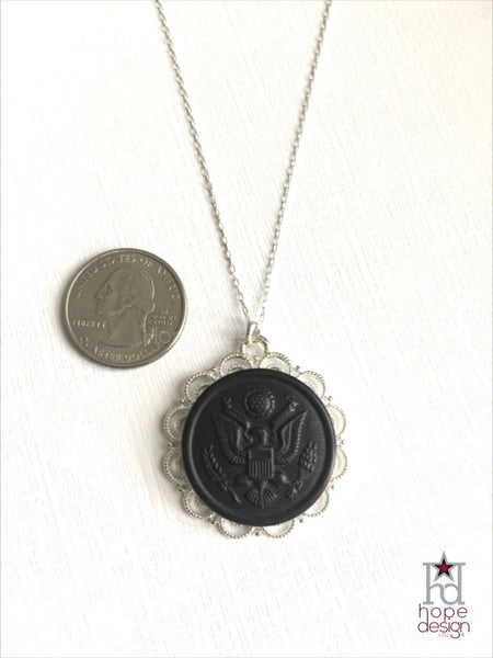 Vintage WWI Army Button on Silver Necklace AS22