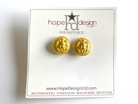 Vintage Navy Button Gold Post Earrings VB529