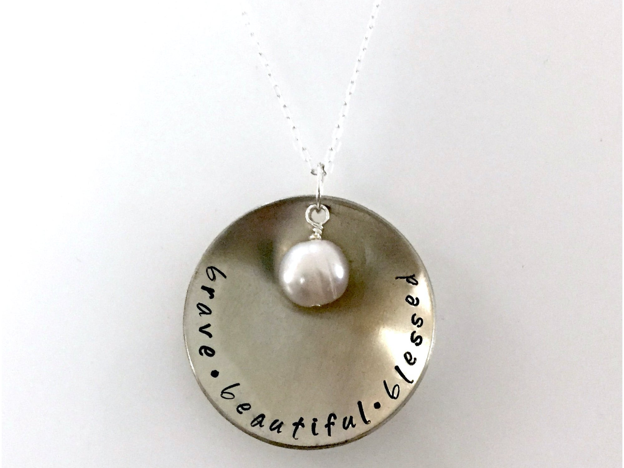 Brave Beautiful Blessed Hand Stamped Necklace