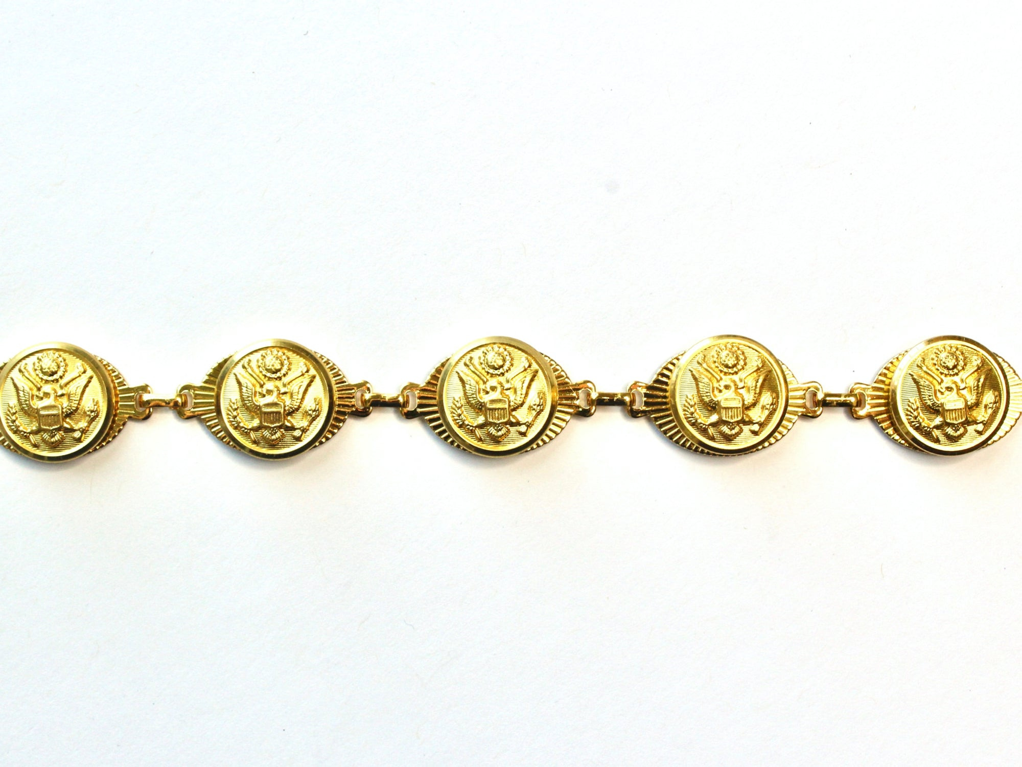Military Button Small Linked Bracelet in Gold