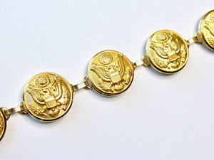 Military Button Large Linked Bracelet in Gold