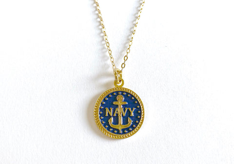 Navy Charm Necklace