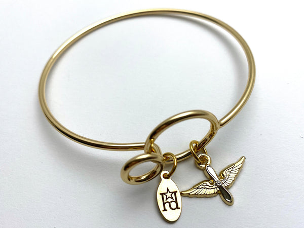 Aviation Memory Wire Bracelet | Prop and Wings