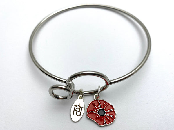 Poppy Memory Wire Bracelet | Remembrance Flower