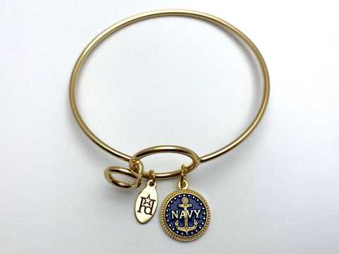 Navy Memory Wire Bracelet | Anchor