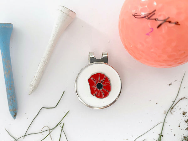 Poppy Golf Hat Clip and Ball Marker