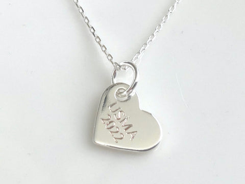 USMA Class of 2022 Silver Heart Charm Necklace BR525