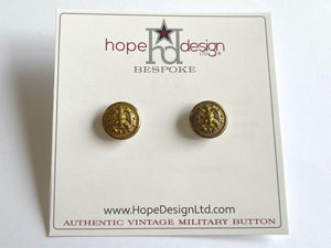 Vintage Navy Button Gold Post Earrings VB530