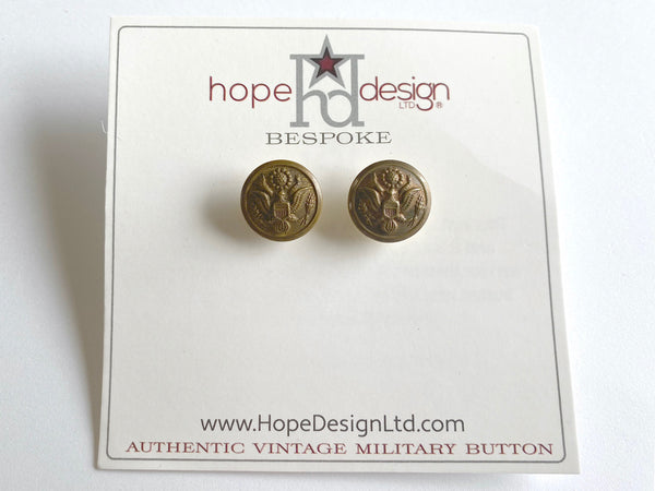 Vintage Army Button Gold Post Earrings VB523
