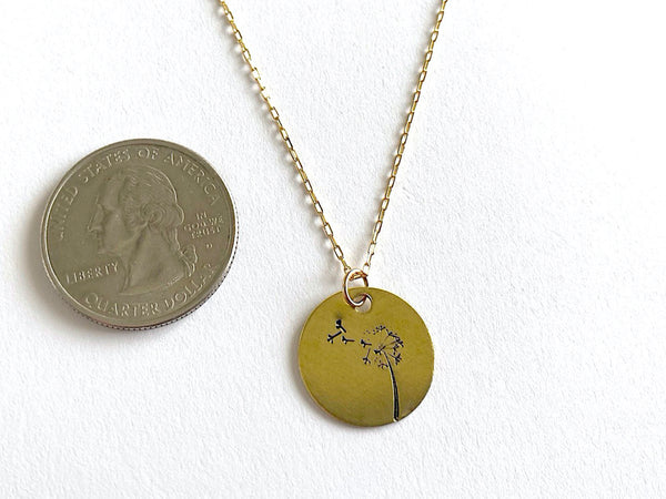 Dandelion Round Gold Pendant Necklace with Custom Name