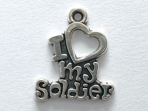 """I Love My Soldier"" Sterling Silver Charm"