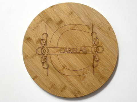 Initial and Text Cutting Board Round