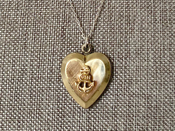 Vintage Sweetheart Necklace | Navy Heart Locket VB801