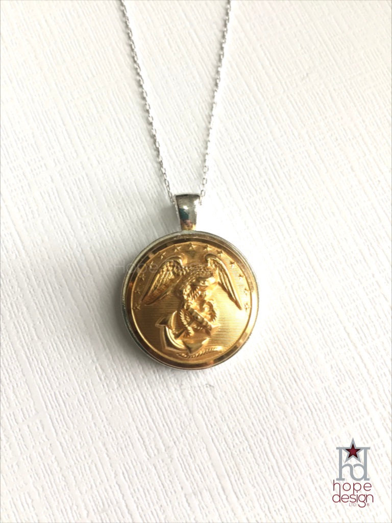 Vintage Marine Corps Button on Silver Necklace MS6
