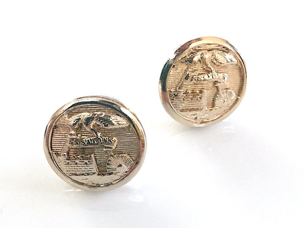 Army Engineer Button Post Earrings