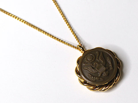 Vintage WWII Army Button on Gold Necklace | 1943-44 BR195