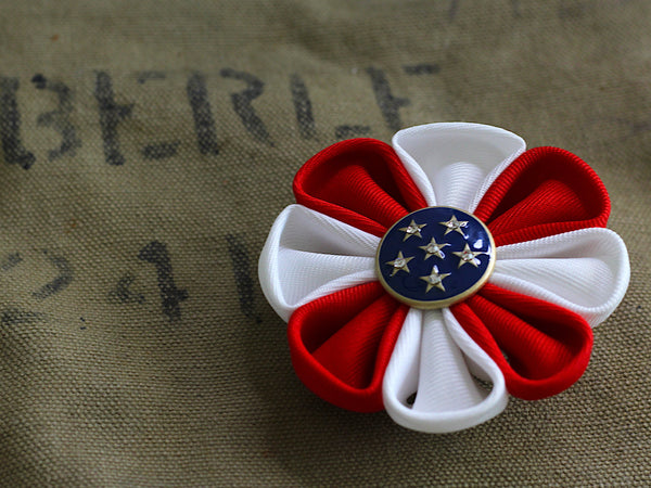 Red White Blue Fabric Flower Brooch BR160