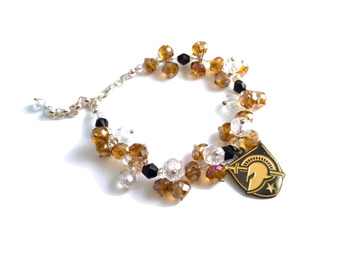 West Point Athletic Charm and Crystal Adjustable Bracelet
