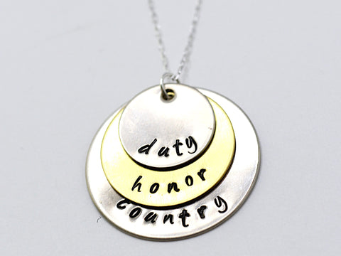 USMA Duty Honor Country Necklace
