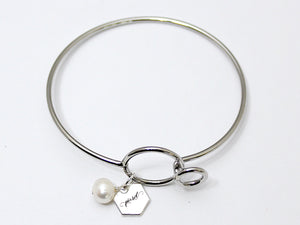 Perfectly Poised Pearl Bangle Bracelet