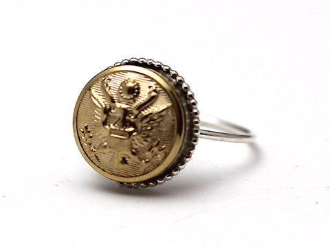Sterling Silver & US Army Button Ring