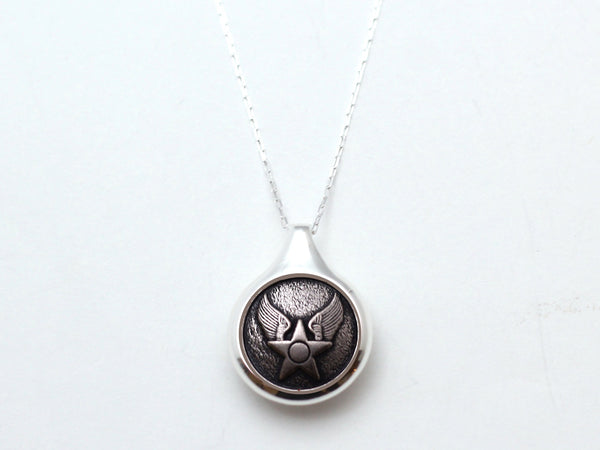 Air Force Button Sleek Silver Necklace