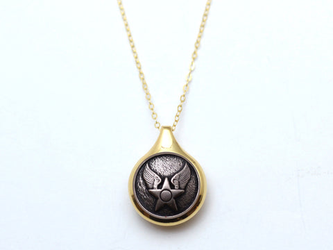 Air Force Button Sleek Gold Necklace