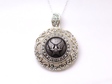 Air Force Button Necklace - Large Silver Rhinestone Pendant