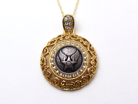 Air Force Button Necklace - Large Gold Rhinestone Pendant