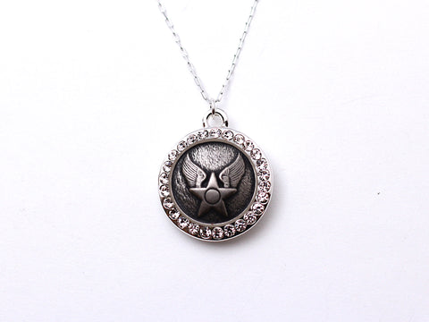 Air Force Button Necklace - Small Rhinestone Silver Pendant