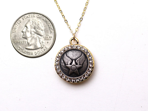 Air Force Button Necklace - Small Rhinestone Gold Pendant