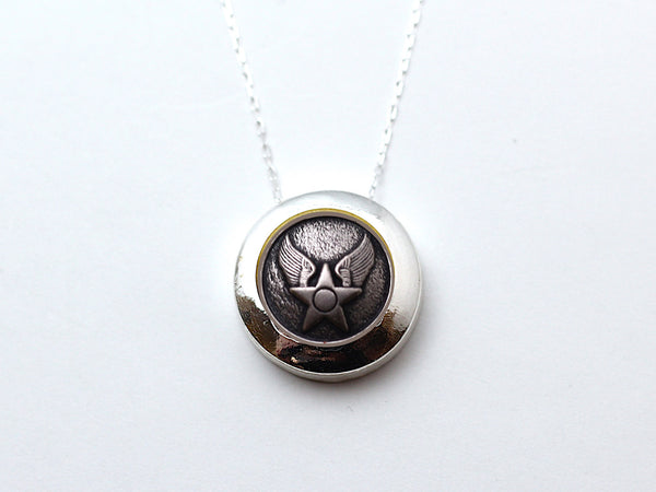 Air Force Button Necklace Channel Silver Setting