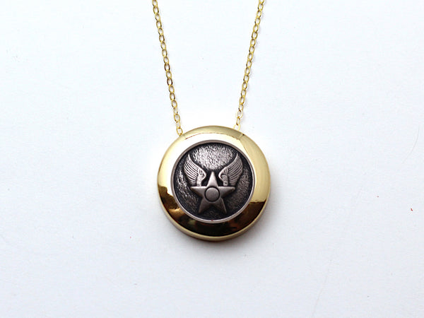 Air Force Button Necklace Channel Gold Setting