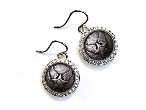Air Force Button Small Rhinestone Earrings