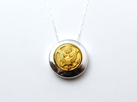 Army Button Necklace Channel Silver Setting