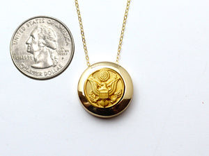 Army Button Necklace Channel Gold Setting