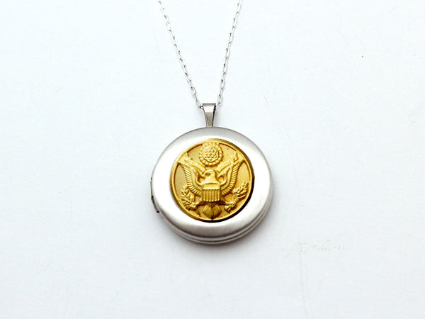 Army Button Silver Locket Necklace