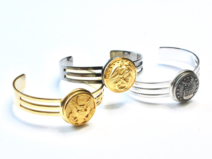 Army Button Cuff Bracelet