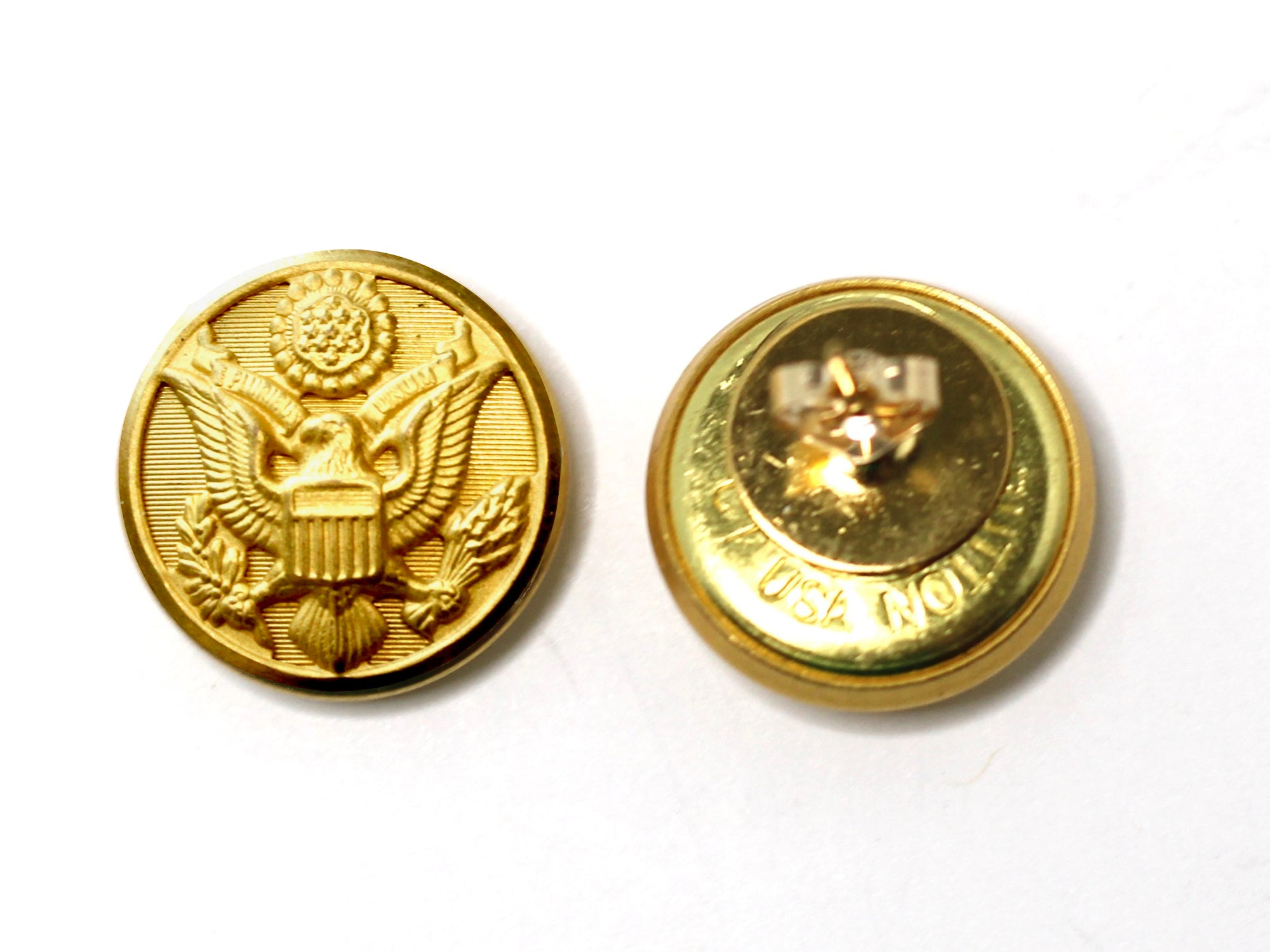 Army Button Post Earrings