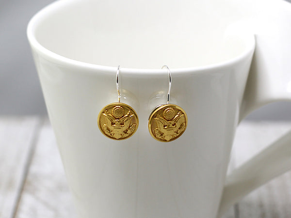 Army Button French Wire Earrings