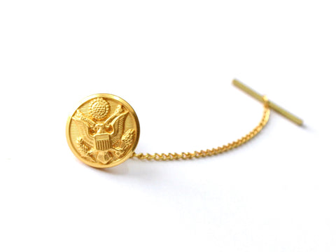 Army Button Gold Tie Tack