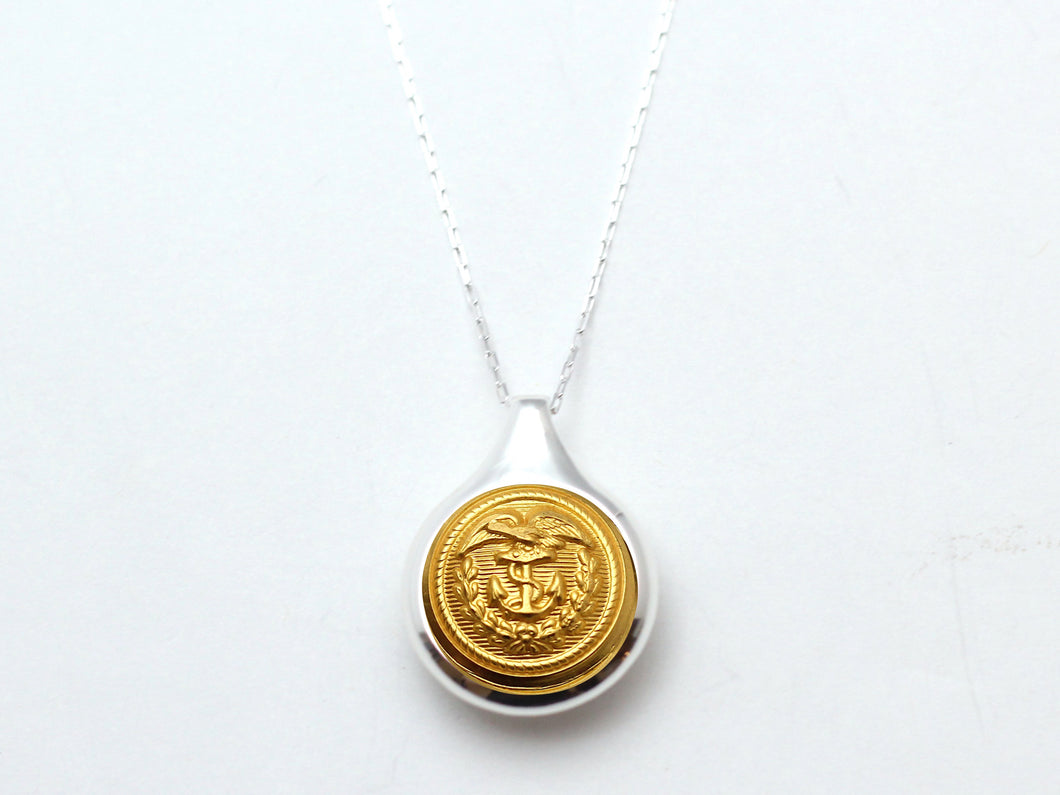 Coast Guard Button Sleek Silver Necklace