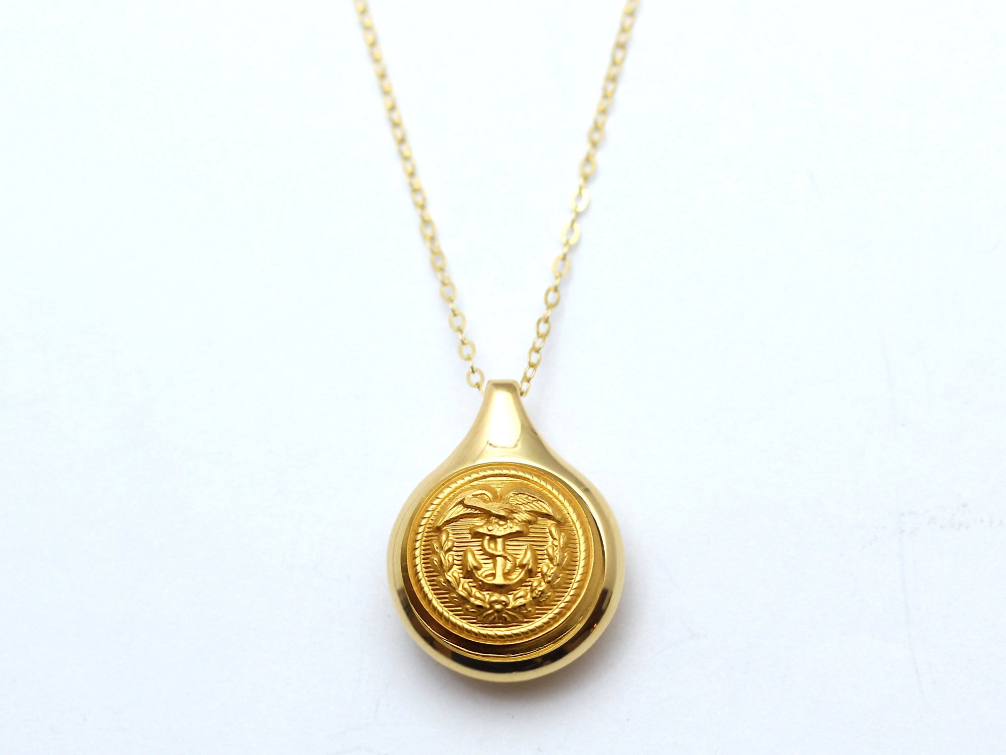 Coast Guard Button Sleek Gold Necklace