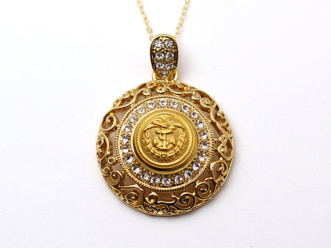 Coast Guard Button Necklace - Large Gold Rhinestone Pendant