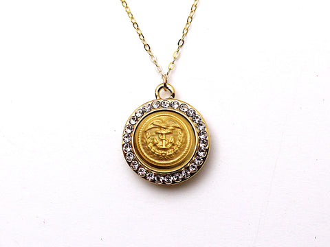 Coast Guard Button Necklace - Small Rhinestone Gold Pendant