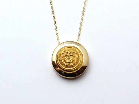 Coast Guard Button Necklace Channel Gold Setting