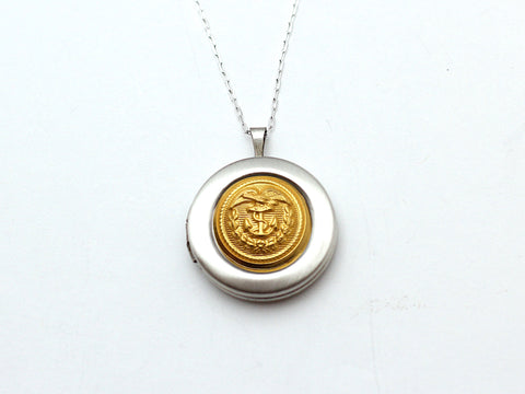 Coast Guard Button Silver Locket Necklace