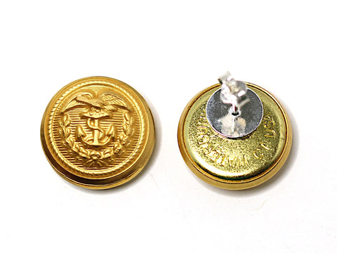 Coast Guard Button Post Earrings