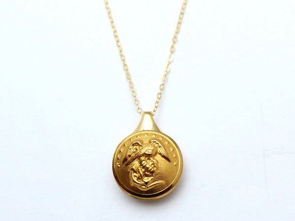 Marine Button Sleek Gold Necklace